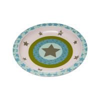 Kinderteller Plate Melamine - Silicone, Starlight olive
