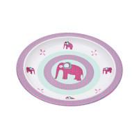 Kinderteller Plate Melamine - Silicone, Wildlife Elephant