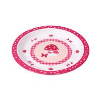 Dish Plate Melamine/Silicone, Mushroom magenta