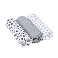 Mulltücher -  Muslin Swaddle & Burp Blanket L, Little Chums Stars White
