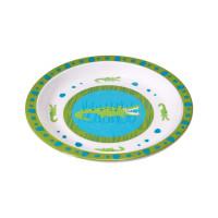 Kinderteller Plate Melamine - Silicone, Wildlife Crocodile granny