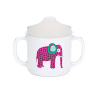 Trinklernbecher 2-handle cup with lid & Silicone, Wildlife Elephant