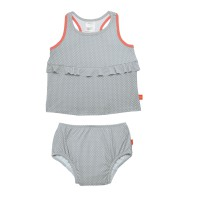Tankini Girls, Polka Dots grey