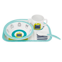 Kindergeschirr Melamin Dish Set, Little Monsters Bouncing Bob