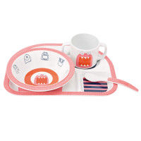 Kindergeschirr Melamin Dish Set, Little Monsters Mad Mabel